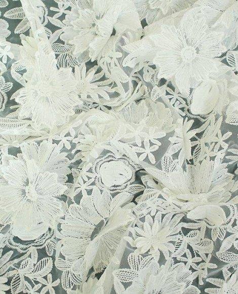 Купить кружевное полотно белое в цвете Белый по цене 650 руб. - интернет магазин, Новосибирск